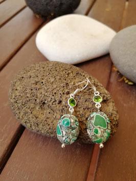 Ohrhänger Silber & Sediment-Jaspis & Quarzkristall grün