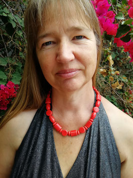 Halskette Keramik * Mustermix rot