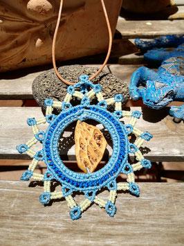 Makramee-Kette Opuntie (Kaktus) * hellblau & creme