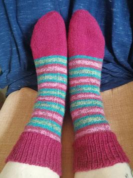 Socken handgestrickt * Größe 40/41 * bordeaux-grün