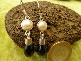 Ohrhänger Silber & Onyx & Perle