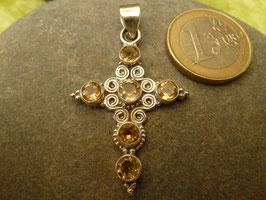 Kettenanhänger Kreuz - Silber & Citrin