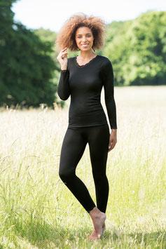Damen-Shirt langarm mit Spitzenabschluss am Hals und an den Ärmeln(Spitze aus 90%Polyamid/10% Elastan). Feinripp Gr.34/36, 38/40, 42/44, 46/48  Farbe 09 schwarz