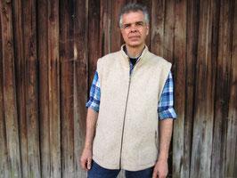 Hochwertige Stehkragenweste (gewalkt) aus reiner Schafwolle Qualitätsprodukt Naturtextil