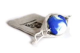 Murmel weiß/blau glänzend