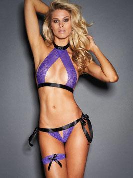 Lingerie sexy 3 pièces noir et violet en dentelle