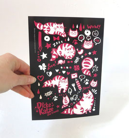 "Postkarte Maxi (A5) ""Pink Cats on Black"""