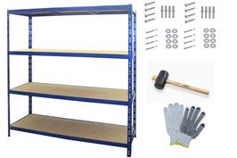 6 Stück Weitspannregale 160 cm breit blau bis 1000 kg belastbar im Set
