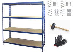 4 Stück Weitspannregale 160 cm breit blau bis 1000 kg belastbar TÜV geprüft im Set