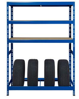 Reifenregal blau mit 3 Ebenen je 200 kg belastbar und für 4 Reifen