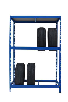 Reifenregal blau für max. 8 Reifen mit oberer Ablage