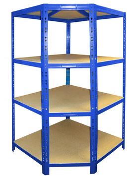 Platzsparendes Schwerlast-Eckregal hochwertig blau pulverbeschichtet