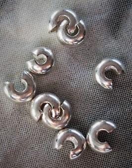 Quetschperlen Abdeckung, versilbert, 2 mm