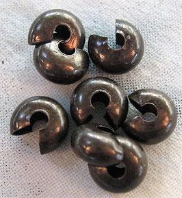 Quetschperlen Abdeckung, Messing, 6 mm