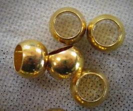 Quetschperlen, vergoldet, 3 mm