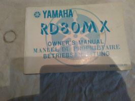 Yamaha RD 80 MX -  originale Betriebsanleitung