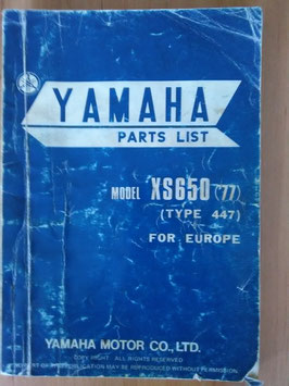 Yamaha XS 650 ('77) Type 447 - Parts-List