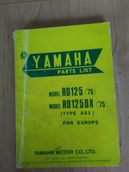Yamaha RD 125 ('75)/ DX ('75) Type: AS3 - Parts-List