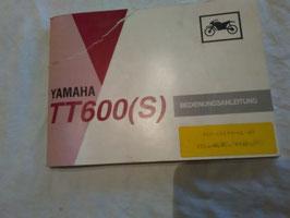 Yamaha TT 600 S - originale Bedienungsanleitung