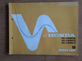 Honda Parts- List - Ersatzteile-Katalog  XL 125 K2 / K3 / K4