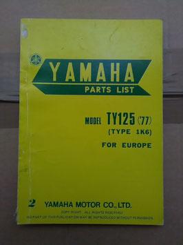 Yamaha TY 125 ('77)- (Type: 1K6) - originale Teile Liste