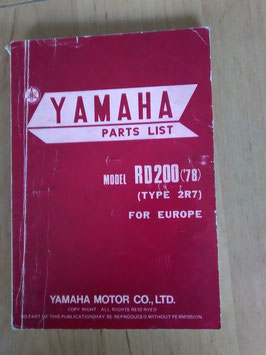 Yamaha RD 200 DX ('78) Type: 2R7 - Parts-List
