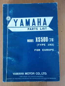 Yamaha XS 500 ('78) Type 1H2 - Parts-List