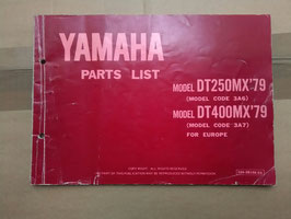 Yamaha DT 250 MX (3A6) – DT 400 MX (3A7) Bj 79 -  Oldtimer Part- List – Teile- Katalog