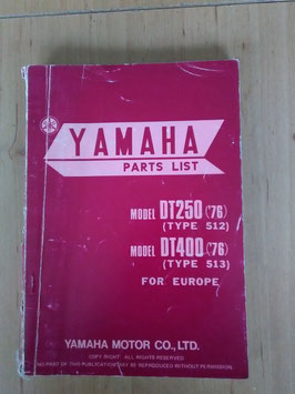 Yamaha DT 250 ('76) Type: 512/ DT 400 ('76) Type: 513 - Parts-List