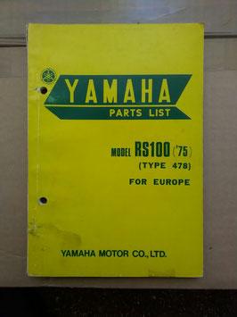 Yamaha RS 100 ('75)- Type: 478 - Teile Liste
