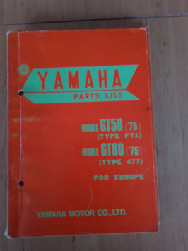 Yamaha GT 50 ('75) Type: FT1/ GT 80 ('75) Type: 477 - Parts-List