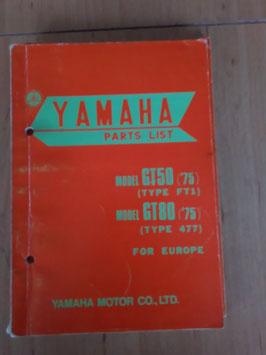 Yamaha GT 50 ('75) Type: FT1/ GT 80 ('75) Type: 477 - Parts-List
