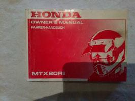 Honda MTX 80 R II – originales Fahrer-Handbuch