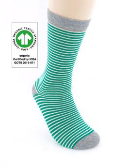 1 Paar Bio-Baumwolle Socken Ringel grün