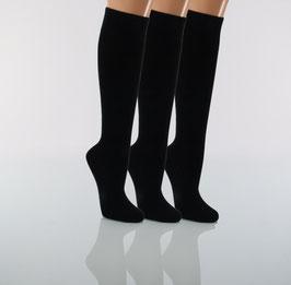 3 Paar Kniestrümpfe Baumwolle Damen schwarz
