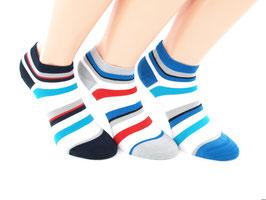 3 Paar Bambus Sneaker Socken geringelt