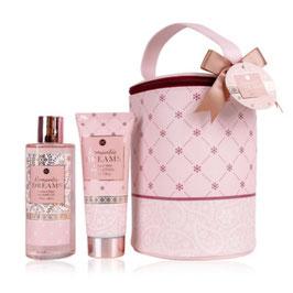 Accentra Romantic Dreams Badset in grote Toilettas Shower Gel en Body Lotion Tea Rose&Velvet