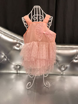 Kleedje oud roze met witte polkadots, strik en tule rok