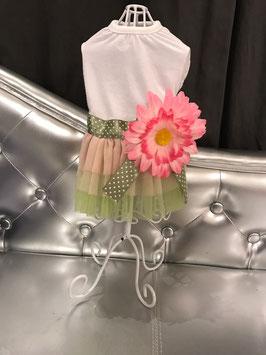 Kleedje groene rok + roze bloem