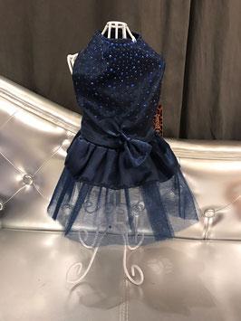 Donkerblauw kleedje tule en steentjes small