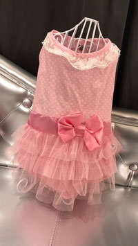 Kleedje witte kraag, strik en tule rok in roze