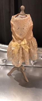 Hondenkleedje champagne met kant en strik