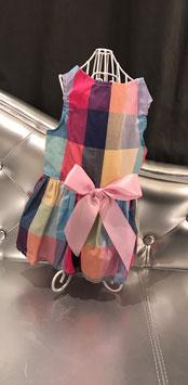Geruit kleedje roze strik