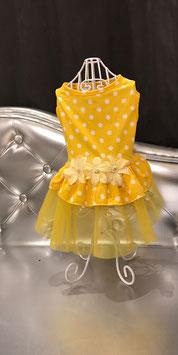Hondenkleedje met bloemen en polkadots geel