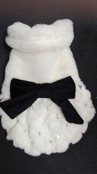 Mantel wit met zwarte strik