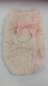 Roze mantel met strik parels