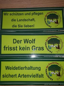 Aufkleber klein: Wir schützen und pflegen..., Weidetierhaltung sichert Artenvielfalt, Der Wolf frisst kein Gras und Ohne Weidetiere kein Deich- & Küstenschutz