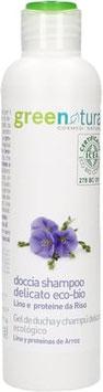Doccia Shampoo delicato lino e proteine del riso - GREENATURAL