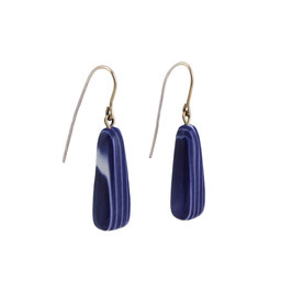 White Stripes In Cobalt Blue Porcelain Dangle Earring / Long Shape / Gold-Filled Earring Hooks
