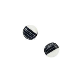 White In Black Porcelain Stud Earring / Round